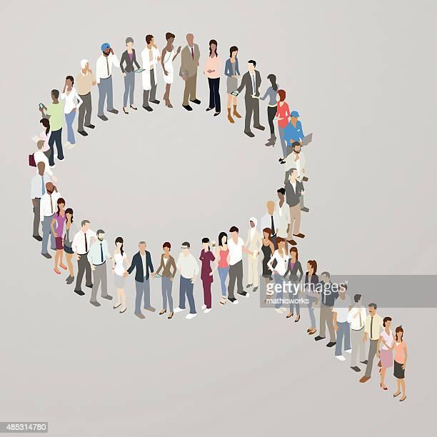 人々の形成検索アイコン - クラウドソーシング点のイラスト素材/クリップアート素材/マンガ素材/アイコン素材
