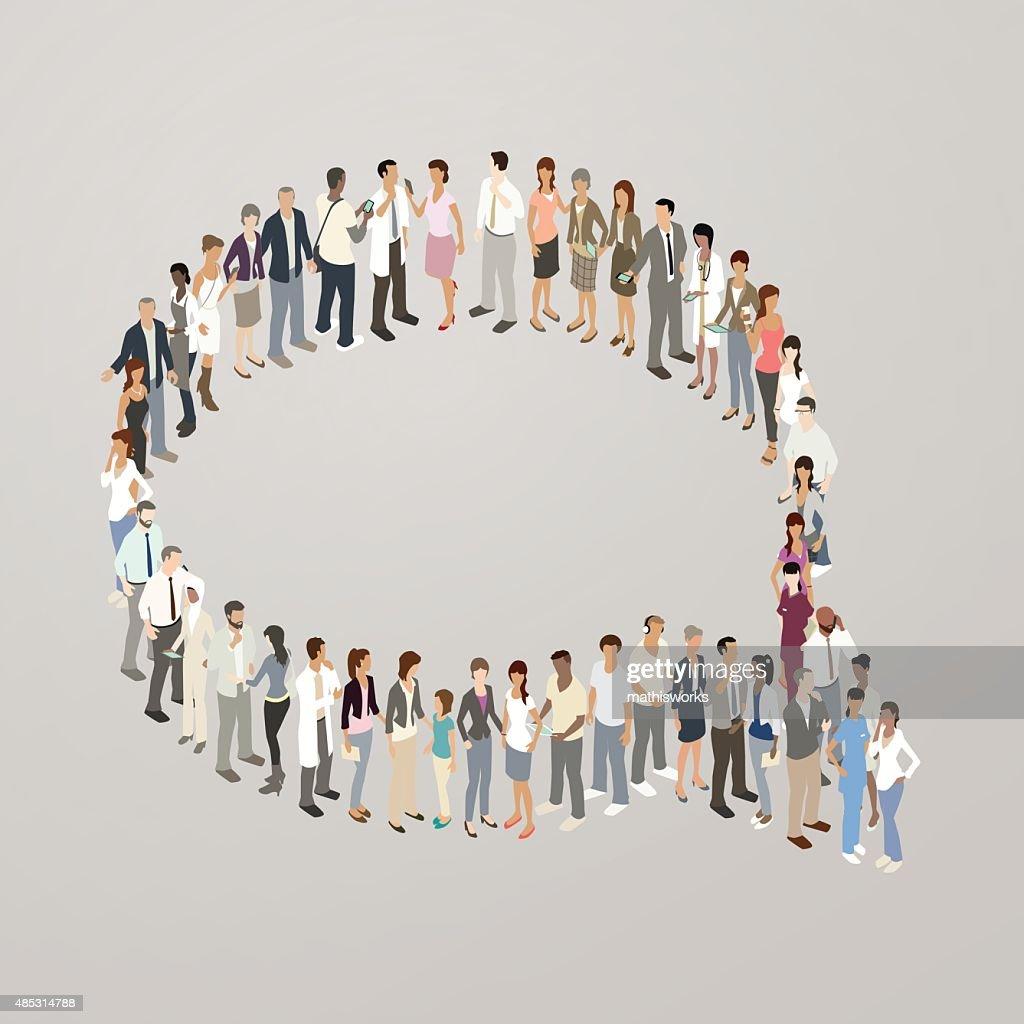 People forming speech bubble