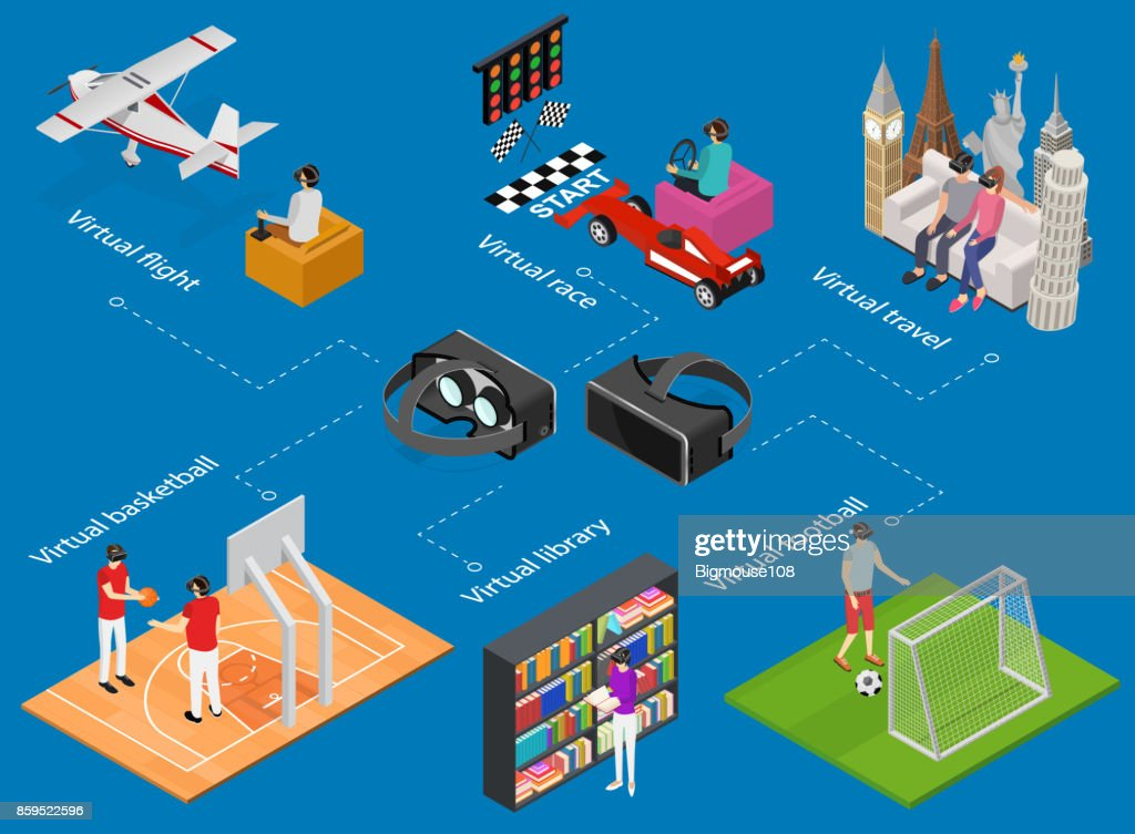People Gaming Vr Concept Isometric View. Vector