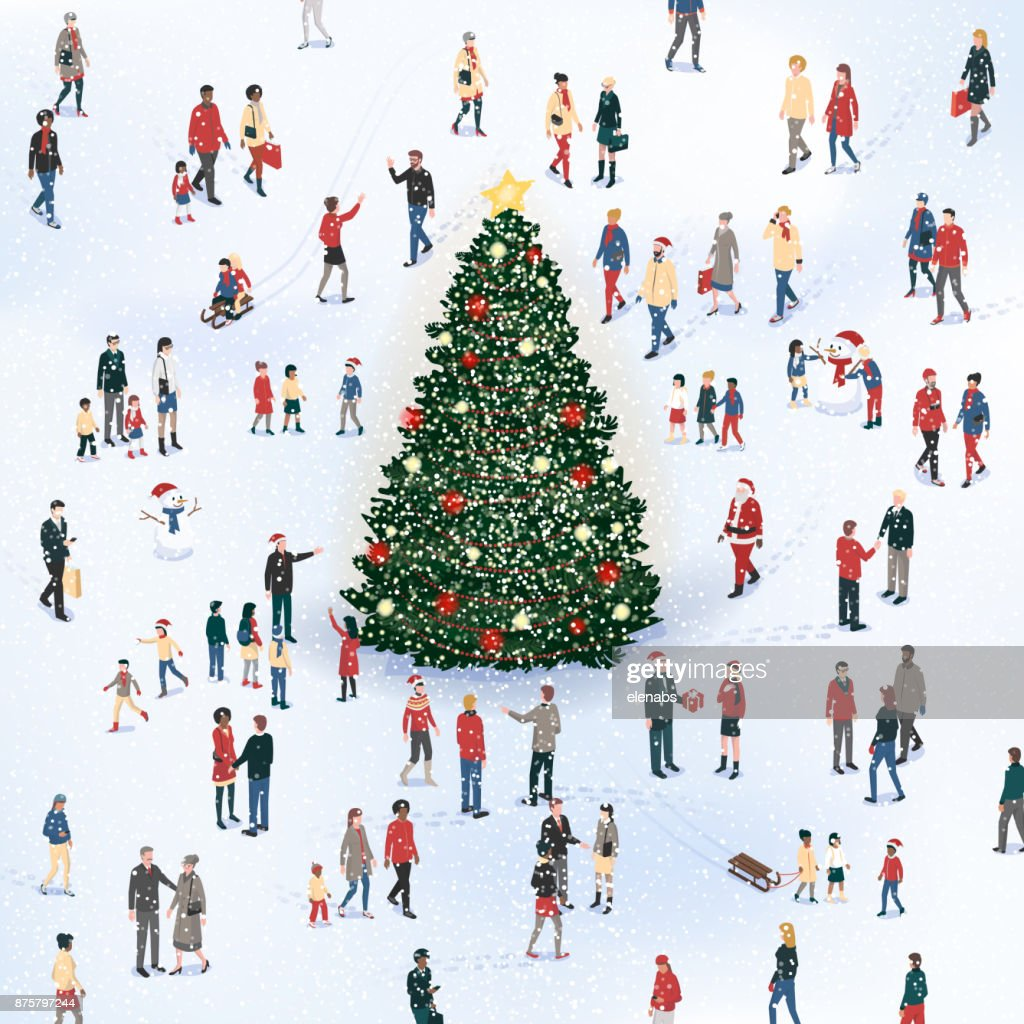 People gathering around the Cristmas tree