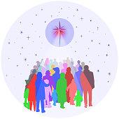 People Gathering Under Bright Star
