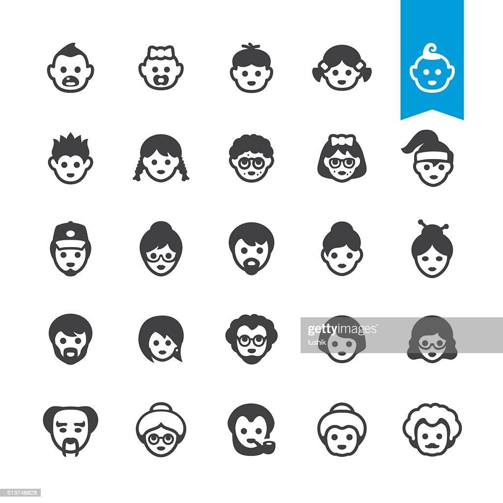 Pessoas gerações avatares crescente processo de envelhecimento e Ícones Vetorizados : Ilustração