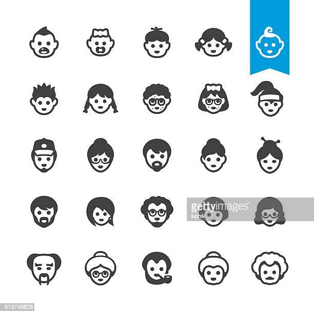 People generations avatars, Aging and Growing Process vector icons