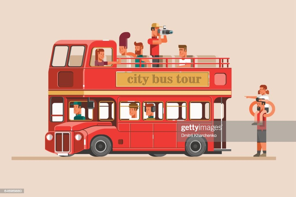 People go on the red tourist bus and take pictures of landmarks.