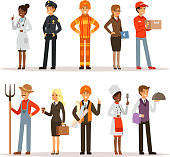 People group in different professions. Fireman, doctor and teacher. Builder, policeman and courier. Vector characters in action poses
