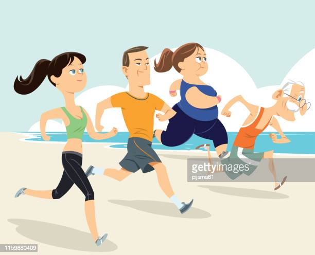 people group running on beach - adult stock illustrations, clip art, cartoons, & icons