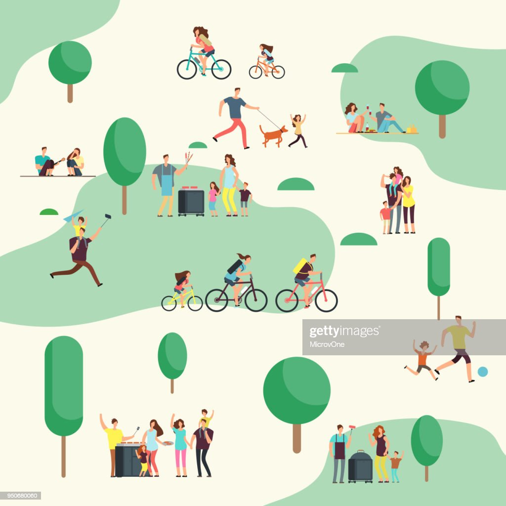People groups on on bbq picnic. Happy families in various outdoor activity in summer park. Cartoon vector characters