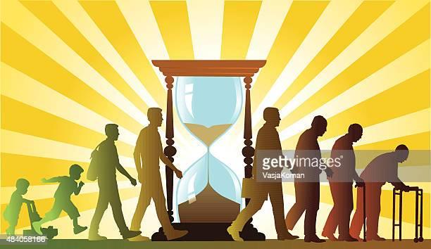 Personas que cultivan antigua y el reloj de arena-Proceso de envejecimiento
