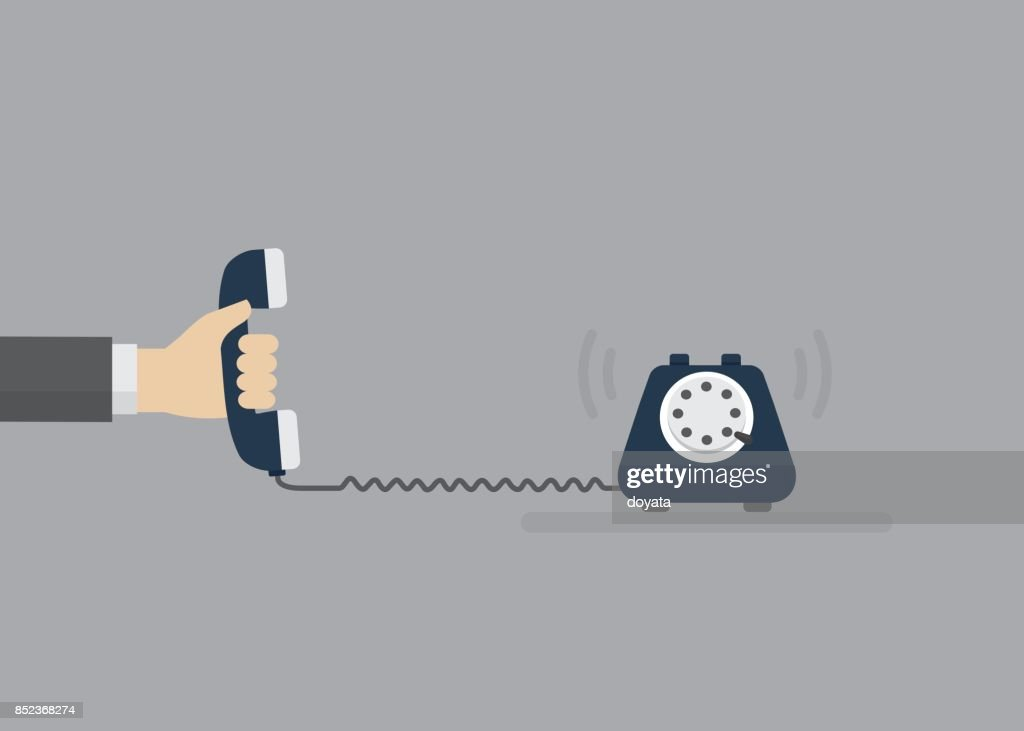 People Hand Holding Telephone Receiver. Contact Service Concept. Vector Illustration