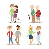 People happy couple cartoon relationship characters lifestyle vector illustration relaxed friends