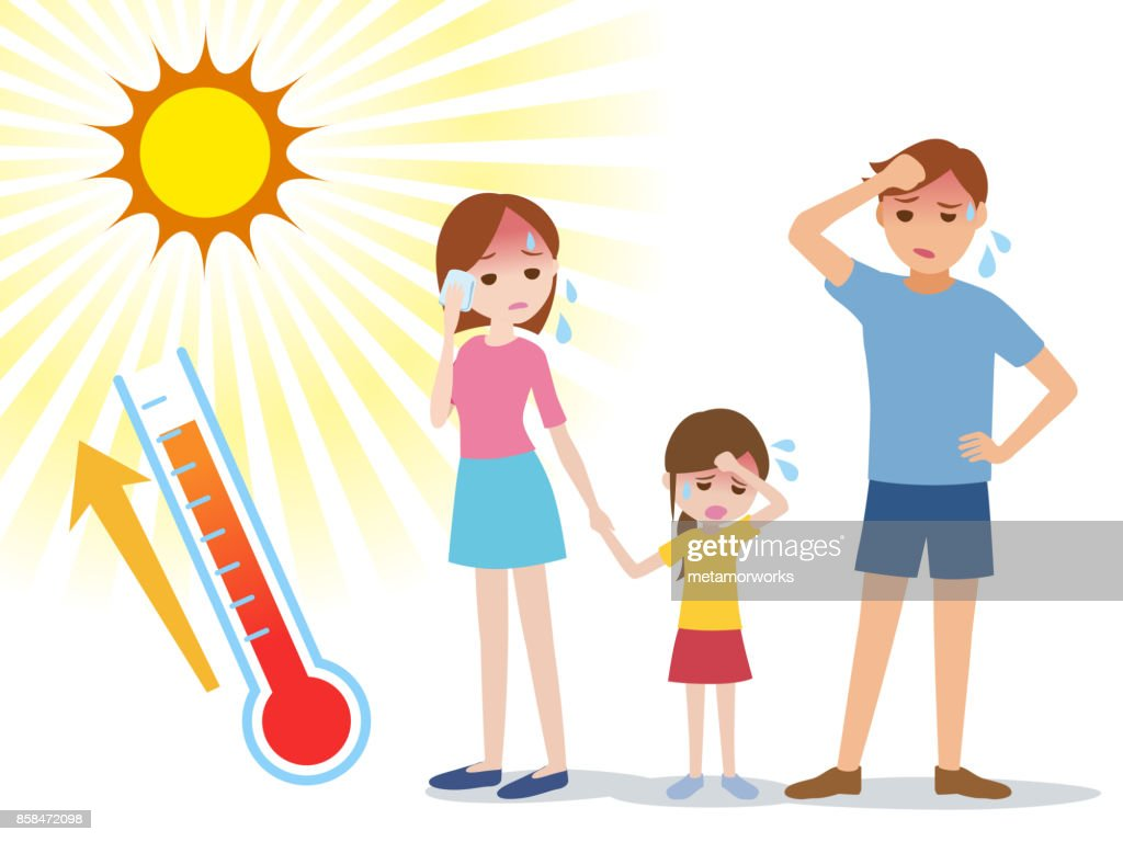 people have heatstroke, concept illustration