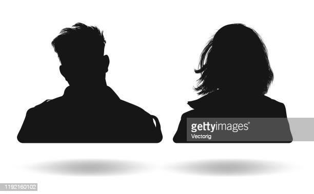 menschen kopf silhouetten - nicht erkennbare person stock-grafiken, -clipart, -cartoons und -symbole