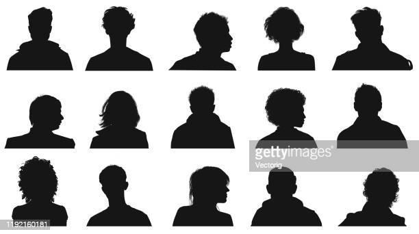 people head silhouettes - headshot stock illustrations