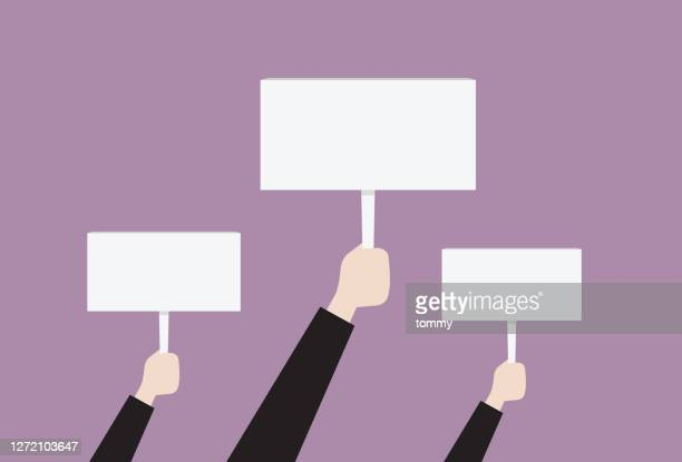 people hold a blank placard - democracy stock illustrations