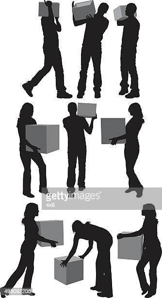 People holding box