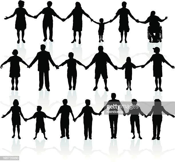 menschen hände halten-united wir - menschenreihe stock-grafiken, -clipart, -cartoons und -symbole