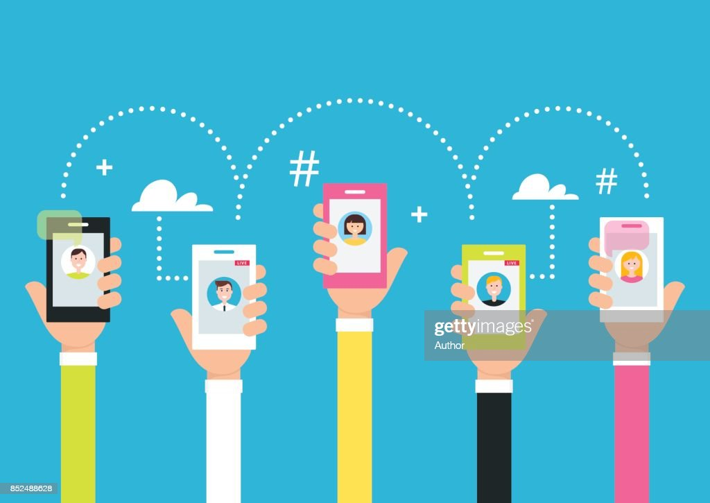 People Holding Phones in Hands. Attracting Followers and Creating Internet Community Using Smart Phone Technology and Live Broadcasting. Vector Illustration