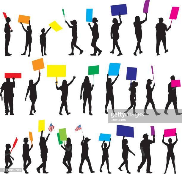 抗議サインシルエットを持つ人々 1 - ゲイ・パレード点のイラスト素材/クリップアート素材/マンガ素材/アイコン素材
