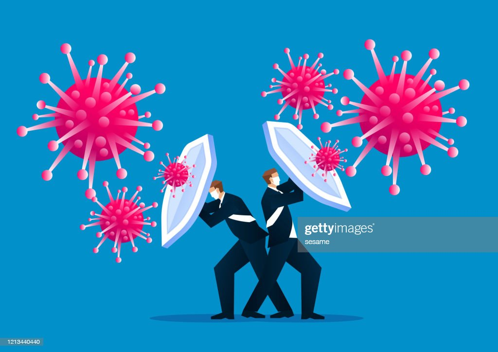 People holding shields and wearing protective masks together to fight the new coronal pneumonia virus covid-19 : stock illustration