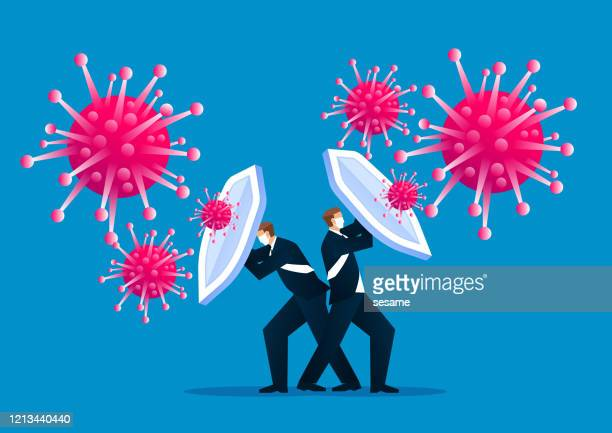 people holding shields and wearing protective masks together to fight the new coronal pneumonia virus covid-19 - infectious disease stock illustrations