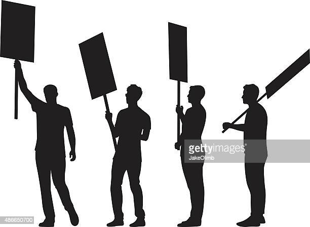 People Holding Signs Silhouettes