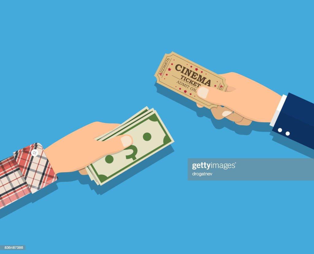 People holding ticket, money in hands.