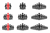People icon set. Crowd of people in black and red colors. Group of people in pictogram shape