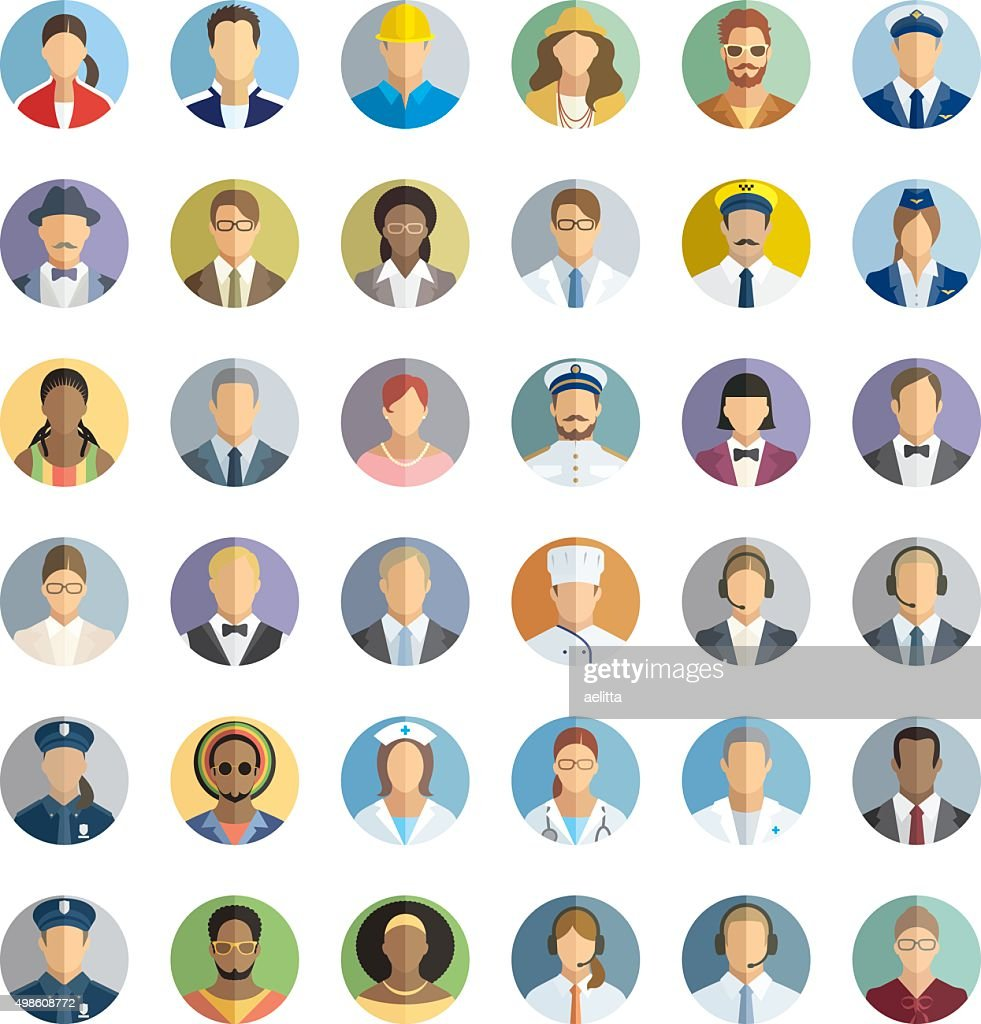 People icon set - different professions.