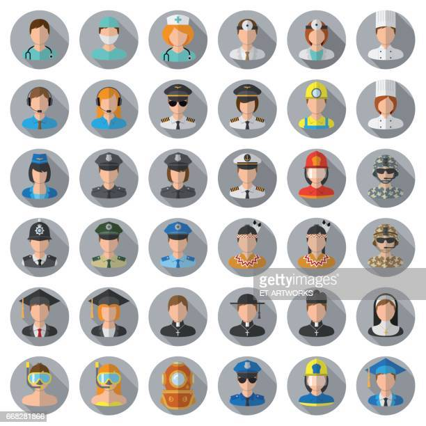 people icon set - different professions - hat stock illustrations