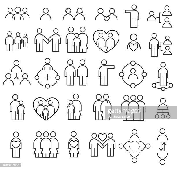 people icon set - bonding stock illustrations