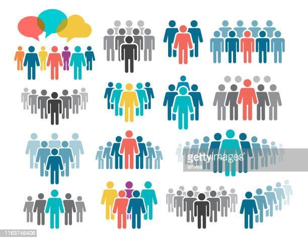 ilustrações de stock, clip art, desenhos animados e ícones de people icon set - grupo de pessoas