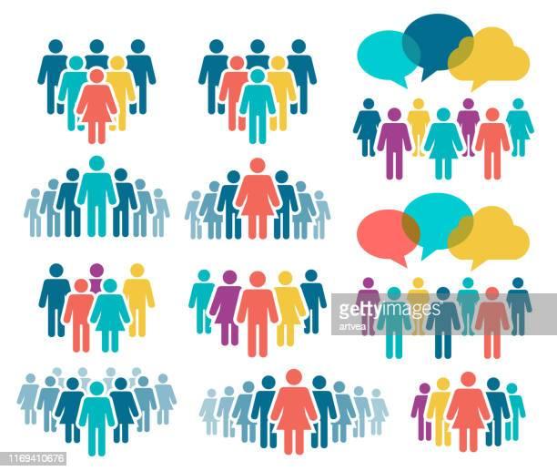 ilustraciones, imágenes clip art, dibujos animados e iconos de stock de conjunto de iconos de personas - grupo de personas