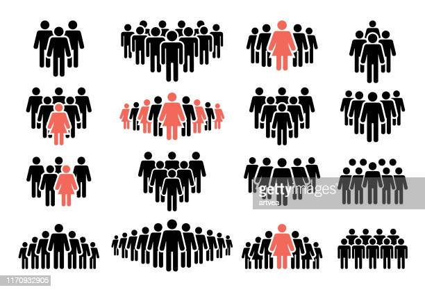 people icon set - people stock illustrations