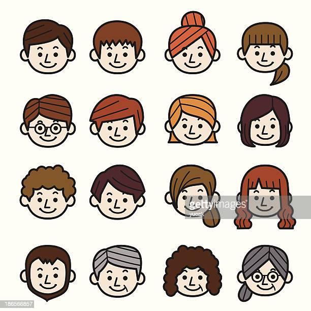 people icon set - calla lily stock illustrations