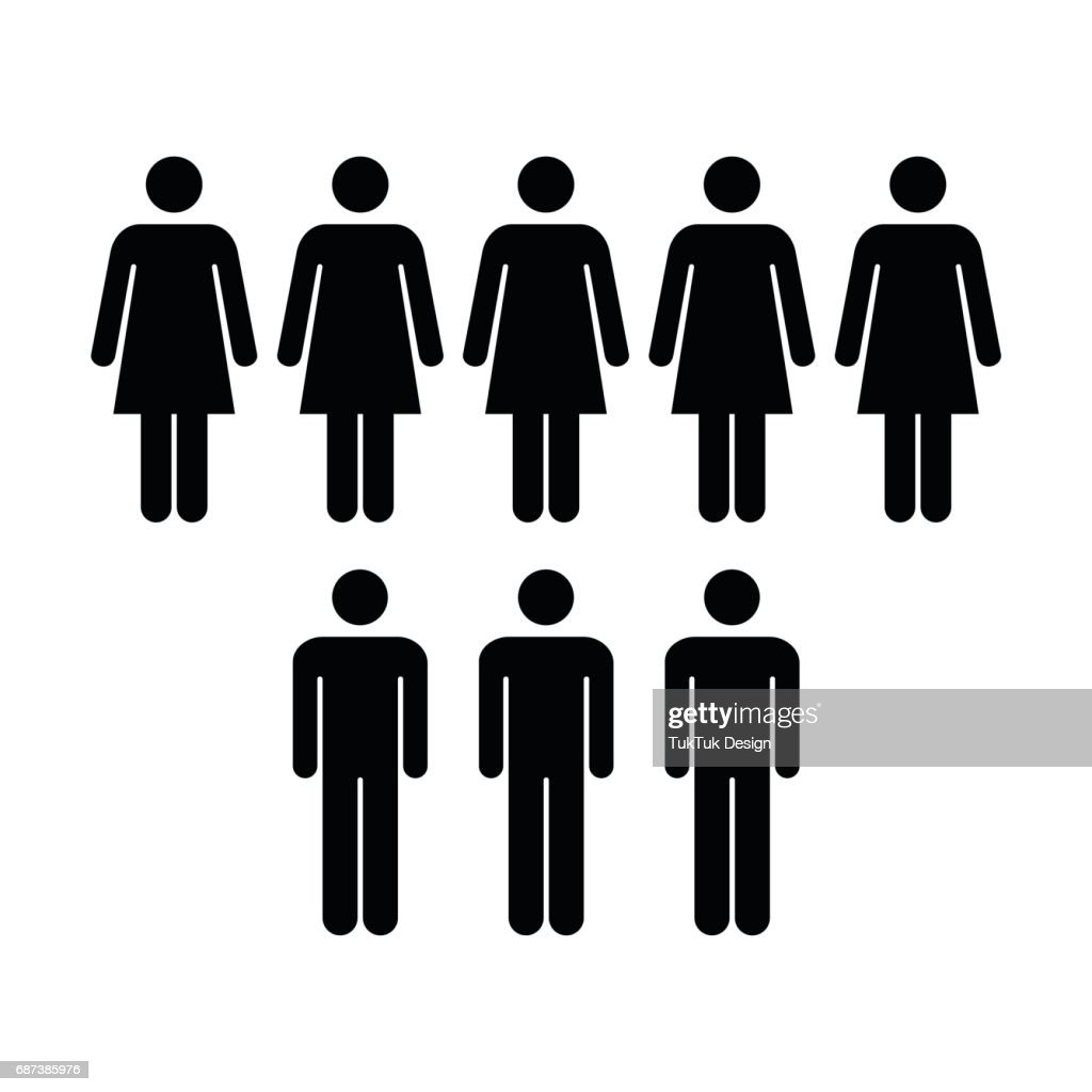 People Icon Vector Group Of Men And Women Team Building Pictogram