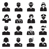 People Icons. Black Flat Design. Vector Illustration.