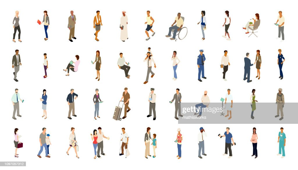 People icons bold color : stock illustration