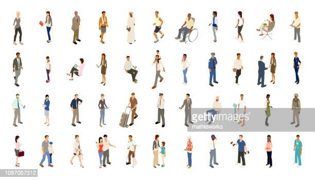 people icons bold color - people stock illustrations