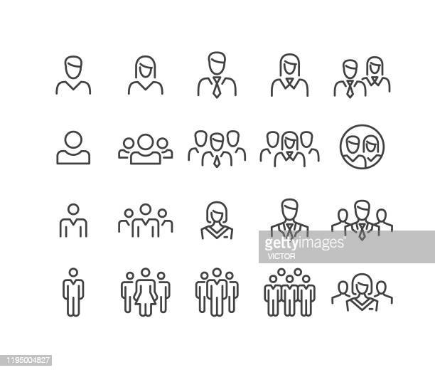 people icons - classic line series - people stock illustrations