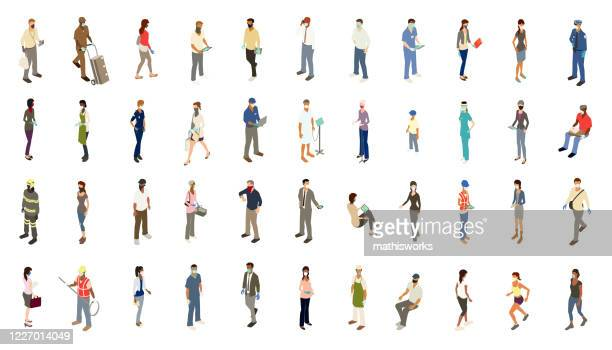 ppe people icons illustration - people stock illustrations