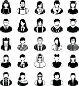 People icons in black and white.