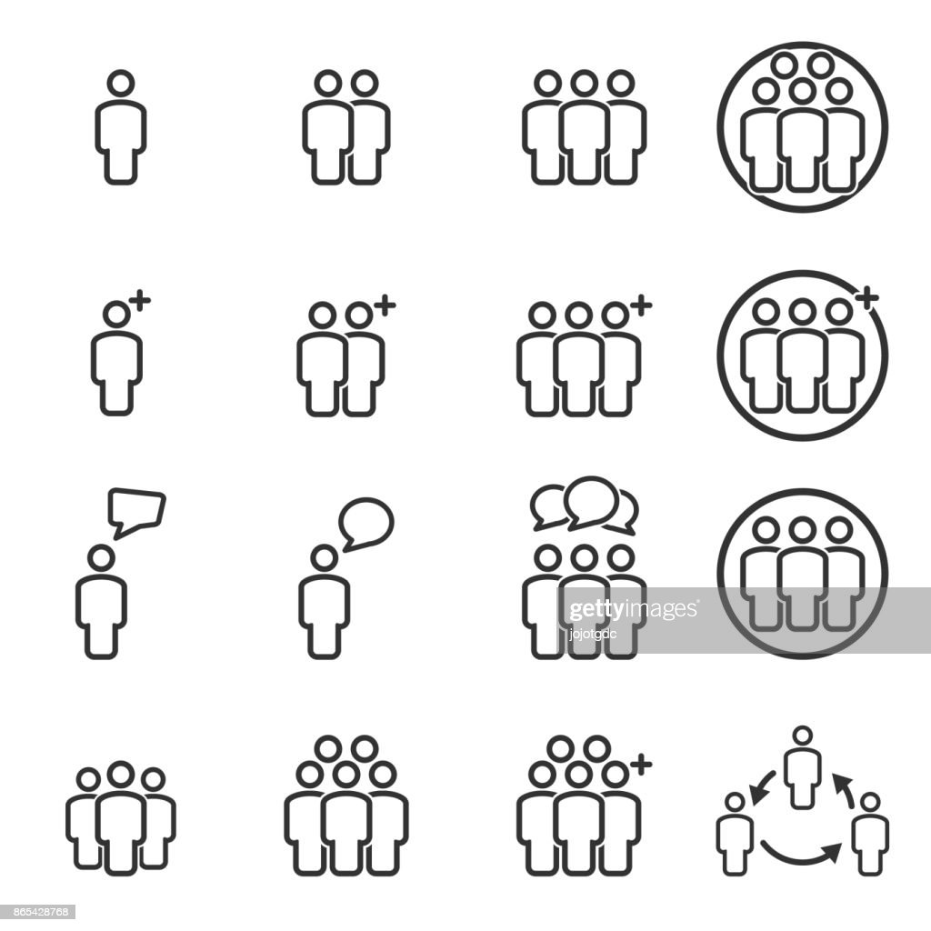 People Icons Line work group Team Vector
