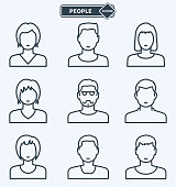 People icons, linear flat style