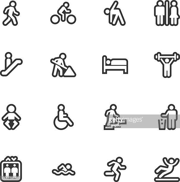 people icons - regular outline - pedestrian stock illustrations, clip art, cartoons, & icons