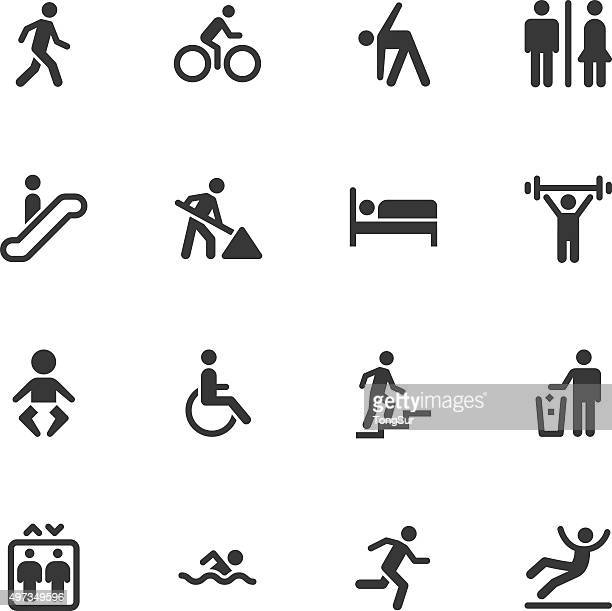 people icons - regular - pedestrian stock illustrations, clip art, cartoons, & icons