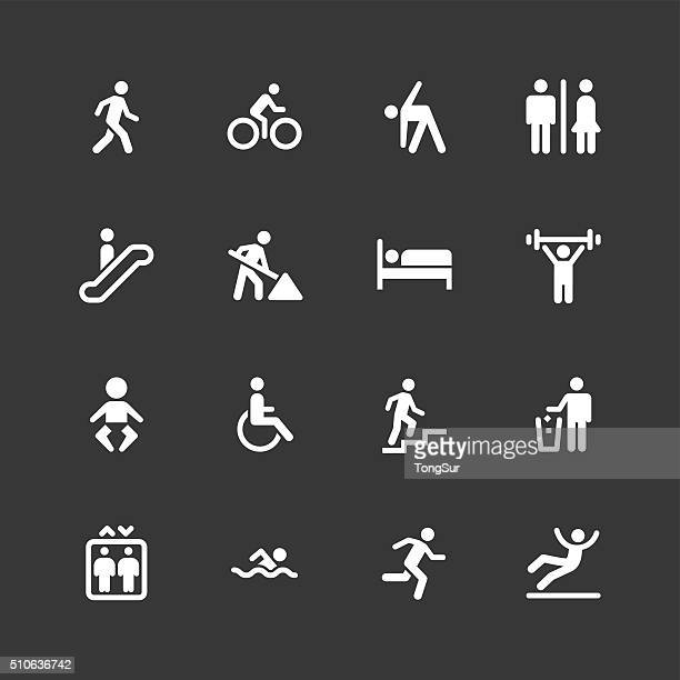people icons - regular - white series - elevator stock illustrations, clip art, cartoons, & icons