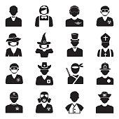 People Icons. Set 2. Black Flat Design. Vector Illustration.