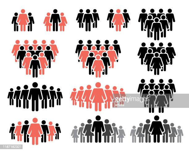 menschen-icons in schwarzen und roten farben - strichmännchen stock-grafiken, -clipart, -cartoons und -symbole