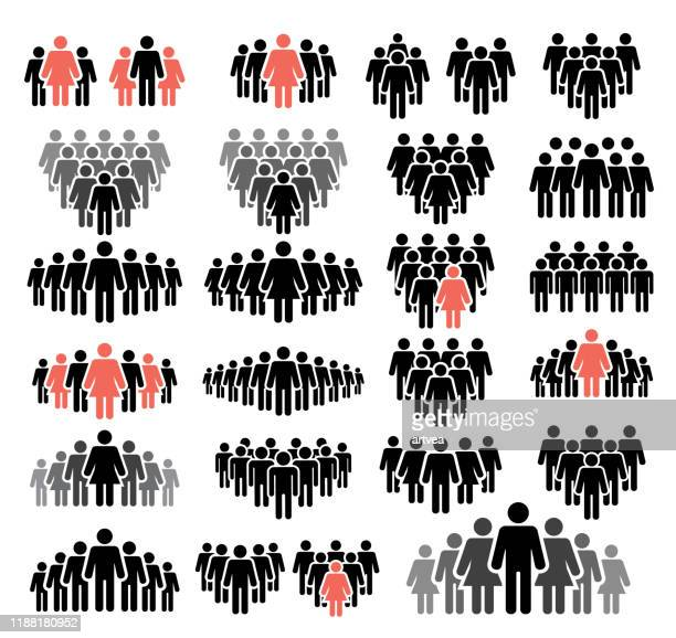 ilustraciones, imágenes clip art, dibujos animados e iconos de stock de iconos de personas ambientados en colores negro y rojo - grupo de personas