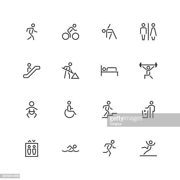 people icons - unique  - line series - pedestrian stock illustrations, clip art, cartoons, & icons